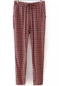 Red Blue Drawstring Waist Houndstooth Pant
