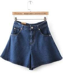 Navy High Waist Ruffle Denim Skirt Shorts