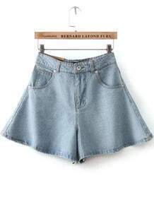 Blue High Waist Ruffle Denim Skirt Shorts