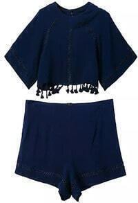 Royal Blue Hollow Tassel Crop Top With Shorts