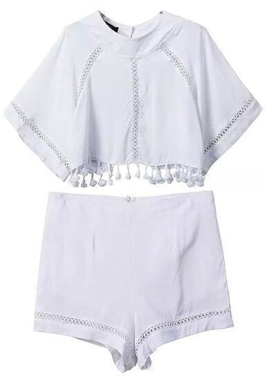 White Hollow Tassel Crop Top With Shorts