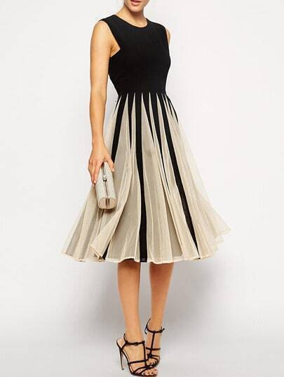 Color-block Sleeveless With Mesh Pleated Dress pictures