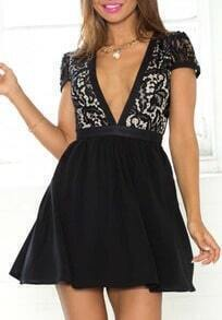 Black Deep Plunge Neck Boobs Lace Flare Dress