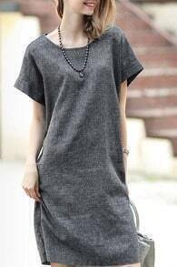 Grey Short Sleeve Shift Babydoll Dress