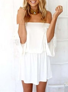 White Off The Shoulder Embroidered Tube Hollow Dress