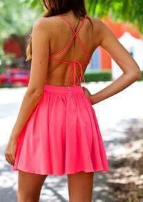 Red Sun Beach Spaghetti Strap Backless Flare Dress