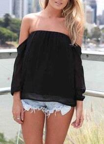 Black Off The Shoulder Chiffon Top