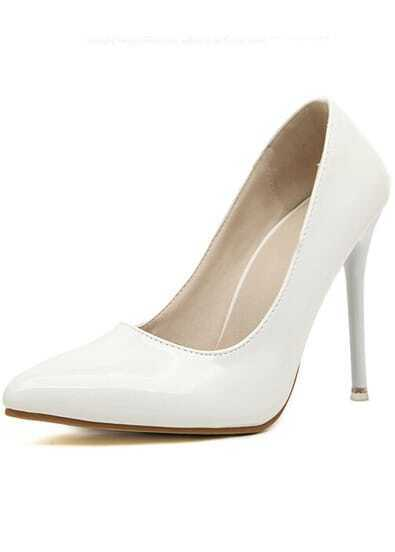 White Point Toe PU High Heeled Pumps