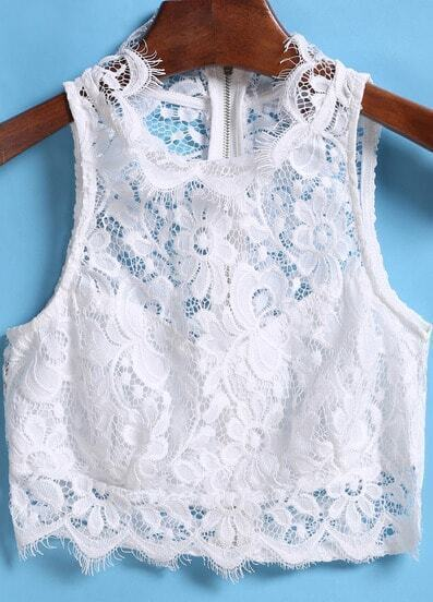 White Hollow Lace Crop Tank Top