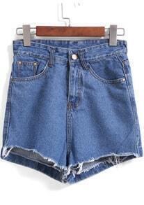 Blue Fringe Loose Denim Shorts
