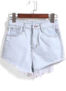 Light Blue Fringe Pockets Denim Shorts