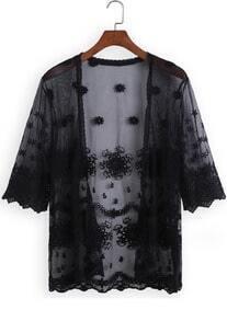 Black Half Sleeve Lace Sheer Mesh Blouse