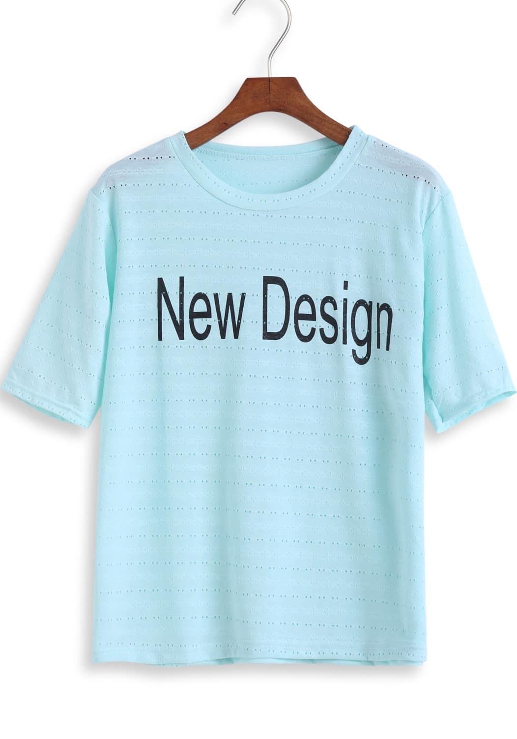 Blue short sleeve new design print t shirt shein sheinside for T shirt design sleeve print