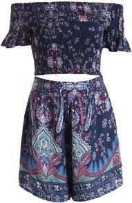 Navy Boat Neck Floral Crop Top With Shorts