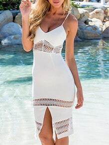 White Spaghetti Strap Lace Insert Split Dress
