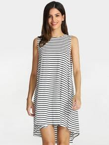 White Black Sleeveless Striped Dress