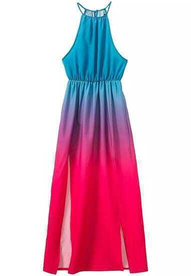 Blue Red Ombre Spaghetti Strap Split Dress
