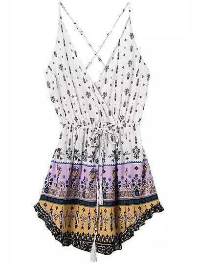 White Purple Spaghetti Strap Backless Floral Dress