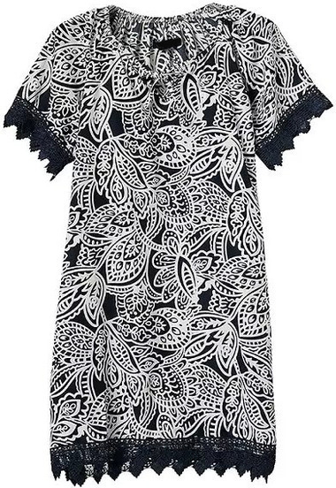 Black Short Sleeve Lace Trims Floral Dress