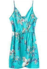 Blue Spaghetti Strap Floral Slim Dress