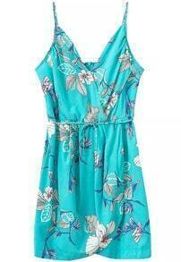 Blue Seafoam Spaghetti Strap Floral Slim Dress