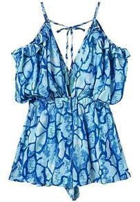 Blue Spaghetti Strap Floral Loose Dress