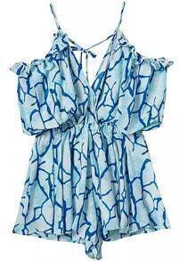 Light Blue Spaghetti Strap Floral Loose Dress