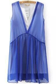 Blue V Neck Sleeveless Sheer Chiffon Dress