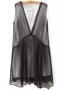 Black V Neck Sleeveless Sheer Chiffon Dress