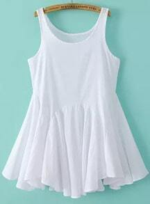White Sleeveless Pleated Flare Dress