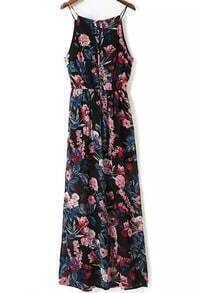 Black Spaghetti Strap Bohemia Print Maxi Dress