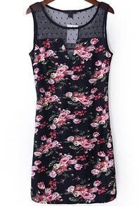 Black Sleeveless Sheer Mesh Floral Slim Dress