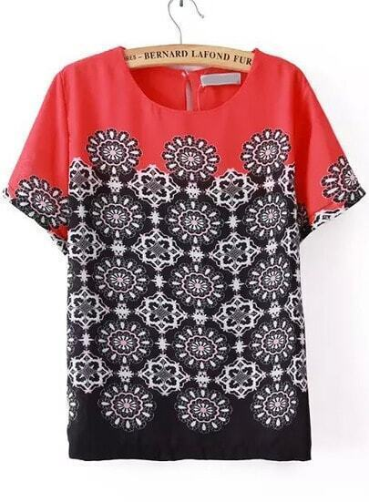 Red Floral Chiffon Blouse 13