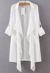 White Lapel Asymmetrical Loose Chiffon Trench Coat