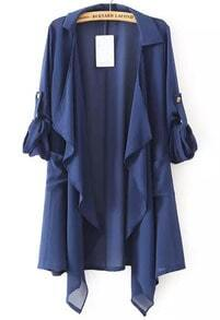 Navy Lapel Asymmetrical Loose Chiffon Blouse