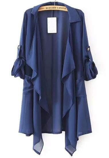 Navy Lapel Asymmetrical Loose Chiffon Trench Coat