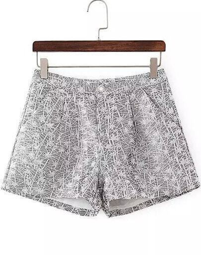 Grey Jacquard Wide Leg Shorts