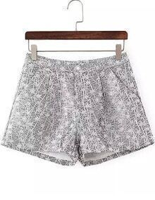 Grey Jacquard Wide Leg Shorts
