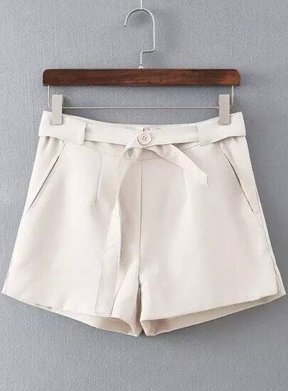 Beige Belt Pockets Shorts