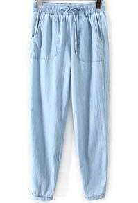 Blue Drawstring Waist Pockets Denim Pant