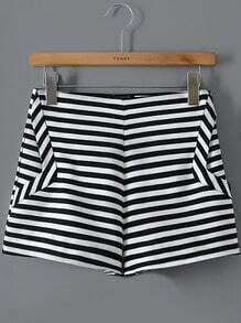 Black White Striped Straight Shorts