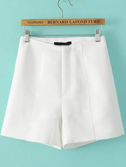 White High Waist Straight Shorts