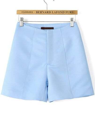 Blue High Waist Straight Shorts