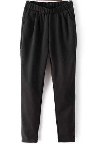 Black Elastic Waist Pockets Pant