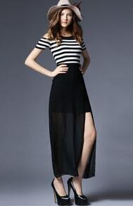 Black Striped Split With Chiffon Dress
