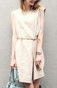 Khaki Round Neck Sleeveless Shift Dress