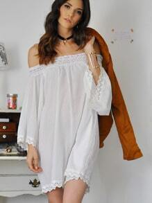 White Off The Shoulder With Lace Hollow Jumpsuit