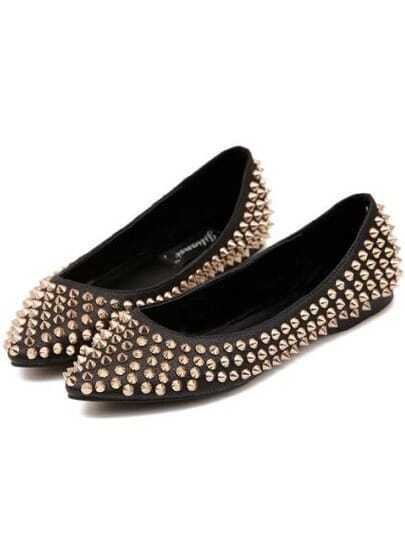 Black Point Toe With Spike Flats