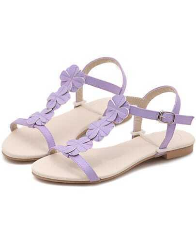 Purple Slingbacks Flower Flat Sandals
