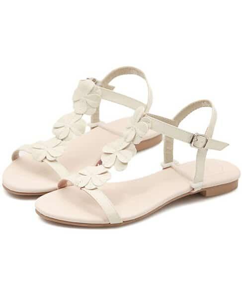 Beige Slingbacks Flower Flat Sandals